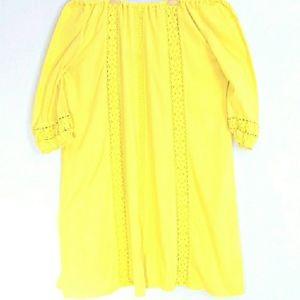 Lane Bryant  Yellow 3/4 Sleeve Embroidered Dress